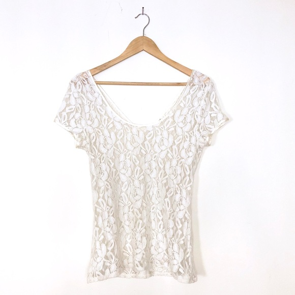 Banana Republic Tops - Off white floral lace top